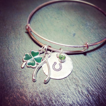 Super Duper Luck Bracelet - Four Leaf Clover, Wishbone Charm, Silver Horseshoe, Peridot Crystal Charm Light Green, Luck of the Irish