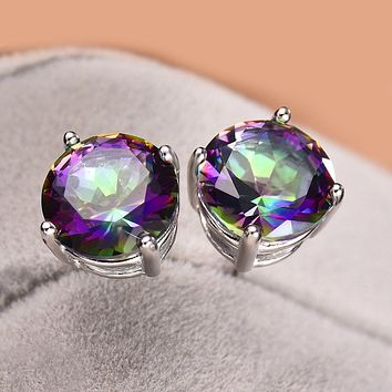Unique In Style Trendy Earrings Mystic Topaz Embellished with Swarovski Crystals 7mm Stud Earring in 18K White Gold Plated