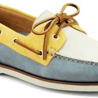 Sperry Top-Sider Gold Cup Authentic Original 2-Eye Boat Shoe Blue/Yellow/IvoryLeather, Size 9M  Men's Shoes