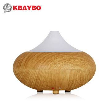 ultrasonic essential oil diffuser 160ml mini humidifier aroma light wood grain mist maker LED Light for home office air purifier