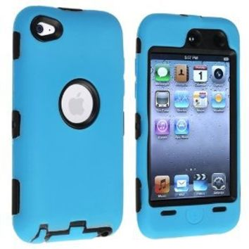 eForCity Hybrid Case for Apple iPod touch 4G, Black Hard/Sky Blue Skin