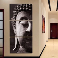 3 Panel Buddha Painting on Canvas for Your Home