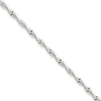 2mm, Sterling Silver Twisted Solid Herringbone Chain Necklace, 20 Inch