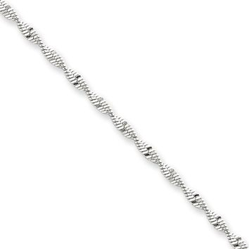 2mm, Sterling Silver Twisted Solid Herringbone Chain Bracelet, 7 Inch