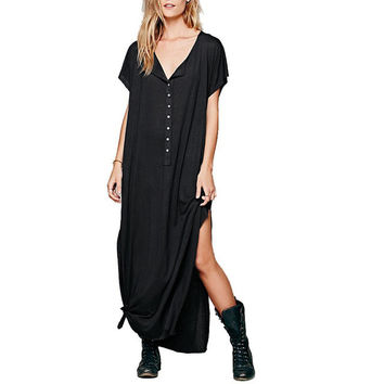 Women's BOHO Black Loose Fitting Front Button Maxi Summer Short Sleeve Dress