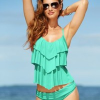 Kenneth Cole Reaction Tiered Ruffle Tankini Top & Hipster Bikini Bottom | macys.com