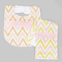 Personalized Burp Cloth and Bib Set - Baby Girl Pink Yellow and Peach Chevrons