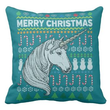 Wildlife Unicorn Merry Christmas Ugly Sweater Pillow