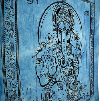 Lord Ganesha Hippie Tapestry,Ganesha Wall Hanging,Indian Bedspread Throw Cotton Hippie Coverlet,Bohemian Blanket,Queen Ethnic Wall Decor