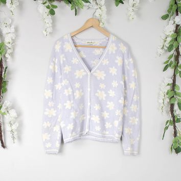 Vintage Daisy Purple Cardigan Sweater