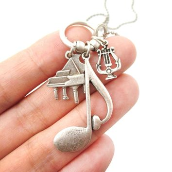 Large Quaver Note Piano and Musical Notes Shaped Charm Necklace in Silver