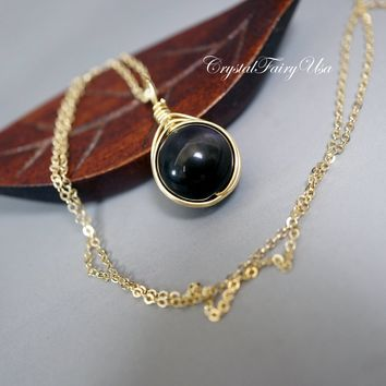 14k Gold Filled Obsidian Necklace Rainbow Obsidian Rose gold Wire Wrapped Single Bead Simple Black Obsidian Necklace