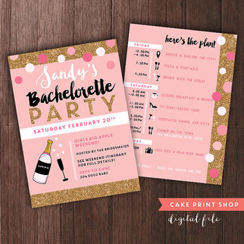 Pink Gold Bachelorette Weekend invite, bachelorette itinerary, 2 sided invite, PRINTABLE bach, champagne bachelorette, pink gold hens party