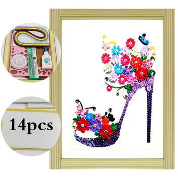 16 color Quilling Paper Craft Kits 14Pcs Tool set High heels Decorating