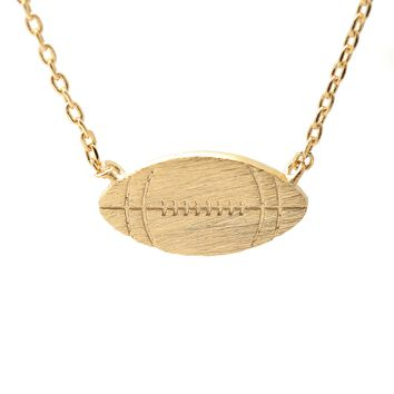 Handmade Brush Metal Football Necklace