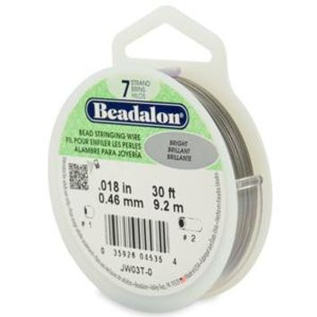 JW03T-0 - Beadalon 7 Strand Stainless Steel Bead Stringing Wire, .018 in (0.46 mm), Bright, 30 ft (9.2 m) | Pkg 1