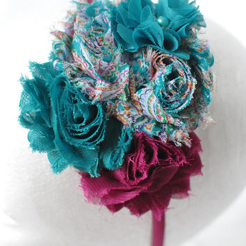 Gypsy floral headband, Women's flower headband, Teal headband, Girls flower headband, Adult headband, Magenta purple headband