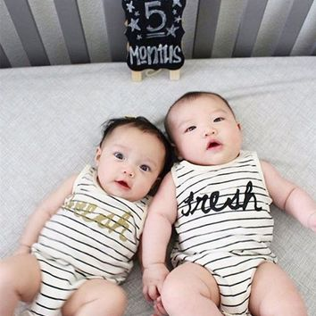 Fresh Striped Cotton Onsie with Gold / Black lettering
