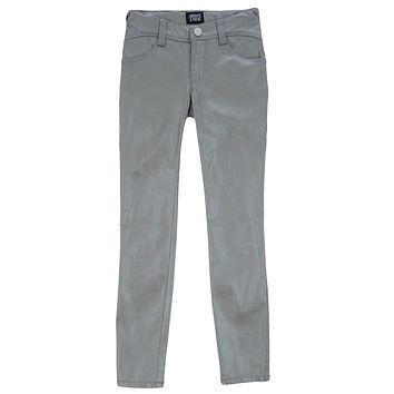 Armani Junior Girls Silver Skinny Luxury Pants