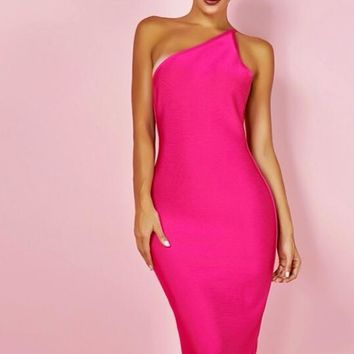 Red One Shoulder Sleeveless Over Knee Bodycon Dress