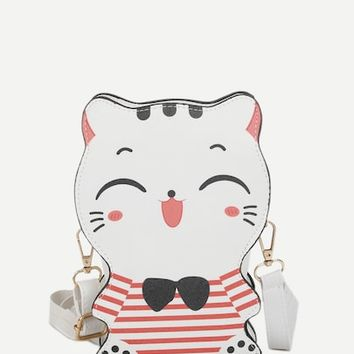 Cat Design Striped Crossbody Bag