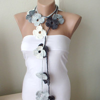 Handmade Crochet Grey mix tones Flower Lariat Scarf by Periay