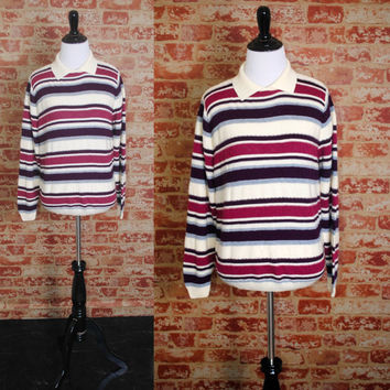 Vintage 1970s long sleeve Purple White STRIPED collared knit sweater PREPPY shirt top blouse