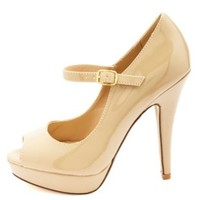 Peep Toe Platform Mary Jane Pumps by Charlotte Russe - Nude