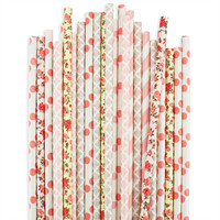Coral Rose Paper Straw Assortment