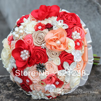 Beautiful red theme bouquet, outdoor wedding the bride holding flowers, fabric, pearls, jewelry lace bouquet, handmade