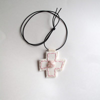 Hand embroidered pendant in light pink with rose quartz bead embellishment on cream muslin with a black leather cord necklace