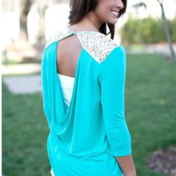 Lace Mosaic Sexy Backless Long Sleeve Tops T-shirts [6048189825]
