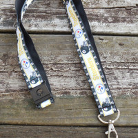 Sports Ribbon, Safety Breakaway Lanyard, ID Badge,Cell Phone, Key Holder, Pittsburgh Steelers Ribbon