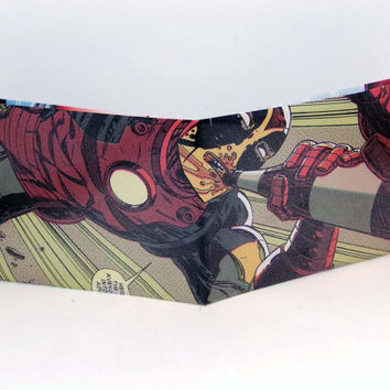 Comic Book Wallet// Deadpool drinking while wearing Iron Man's armor
