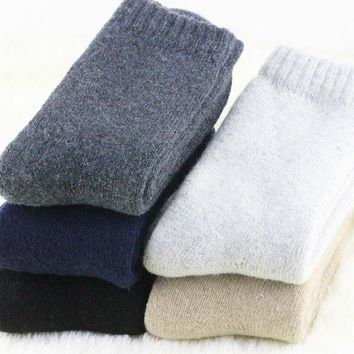 1 Pair Winter Men's Cashmere Wool Socks Warm Thick Solid High Quality Business Classic Men Socks