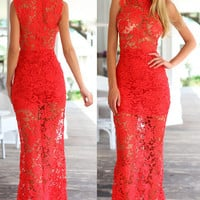 Red Floral Lace Overlay Turtle Neck Maxi Dress