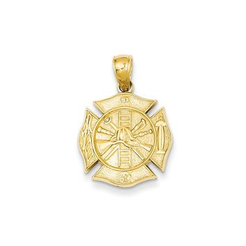 14k Yellow or White Gold Reversible Fire Department Shield Pendant
