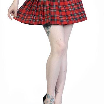 Banned Apparel RED TARTAN Pleated Short Mini Skirt with Buckles