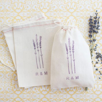 Personalized 10 Lavender Wedding Favor Bags