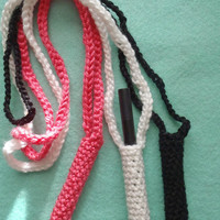 Crochet ego  ecig  electronic cigarette vaporizer  holder necklace SET OF THREE lanyard