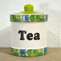 Tea Canister- 70s Green, Blue, and White Floral Print Ceramic Tea Jar