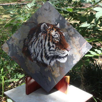 Acrylic Painting of Tiger on slate by ADragonflysFancy on Etsy