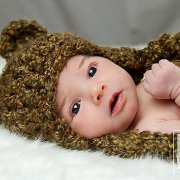 FREE SHIPPING  Baby Bear Crochet Hat  Brown by Tzigns on Etsy