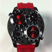 Red Dual Thermometer Compass Watch