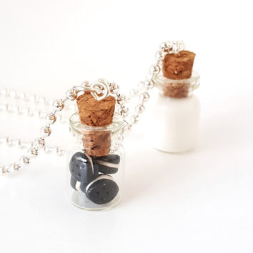 Miniature Cute BFF Oreo Cookies and Milk Necklace- Best Friend Forever Necklace -Miniature food jewelry- Chocolate Chips Cookie-Polymer clay