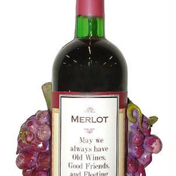 Christmas Ornament - Merlot Wine Bottle And Grapes