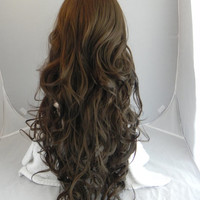 Medium Brown / Long Curly Layered Wig Mermaid Hair with Natural Scalp Piece