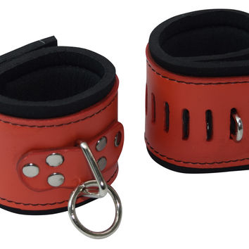 Red Buckleless Leather Cuffs with Neoprene Lining