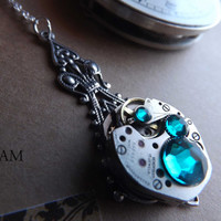 Steampunk Victorian Aquamarine Turquoise Pendant Necklace - Steampunk Jewelry by Steamretro