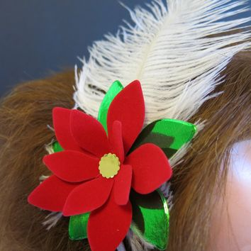 Velvet Poinsettia Headband, Festive Flapper Style Flower Hair Crown Accessory, Fascinator Hat